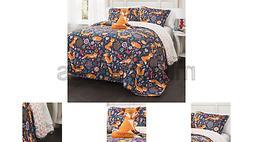 Lush Decor Pixie Fox Quilt Reversible 4 Piece Bedding Set -