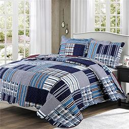 All-Season Queen Bedspread with Pillowcases,3 Piece Luxury Q