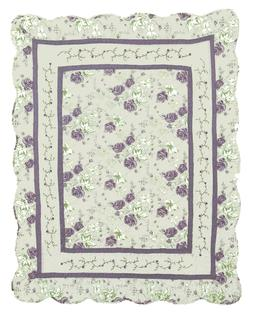 plum purple throw blanket quilted reversible floral