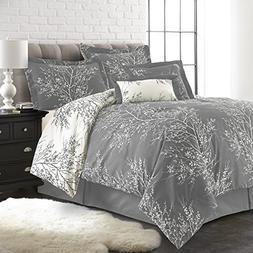 Spirit Linen, Inc Hotel 5th Ave Queen Grey/White 6 Piece Plu