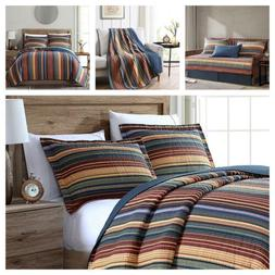 Pre-Washed Cotton Quilt Set Multi-Striped Reversible Bedspre