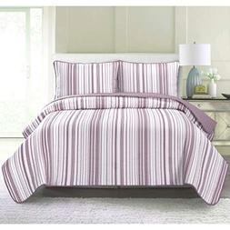 UKN 3 Piece Pretty Purple White Full Queen Quilt Set, Stripe
