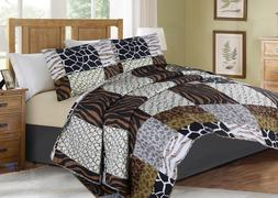 Printed Animal Designs Bedspread Coverlet Quilt 2/3 Piece Se
