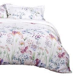 Bedsure Printed Floral Duvet Cover Set King Size White Soft
