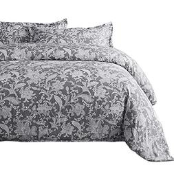 Bedsure Printed Floral Duvet Cover Set King Size Grey Duvet
