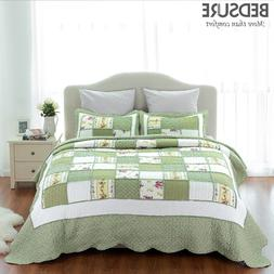 Printed Quilt Coverlet Set Bedspread All Size Green Ruffle b