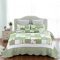 Bedsure Printed Quilt Coverlet Set Bedspread Full/Queen Gree