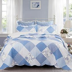 Bedsure Printed Quilt Coverlet Set Twin Blue Floral Patchwor