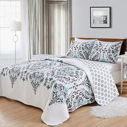Great Bay Home 3-Piece Printed Quilt Set with Shams. All-Sea