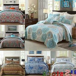 Pure Cotton Quilted Three-piece Bed Cover Set Double-Sided T