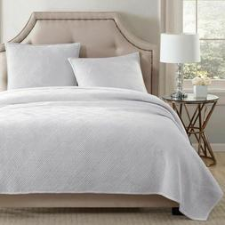Pure Velvet King Quilt Set in Winter White