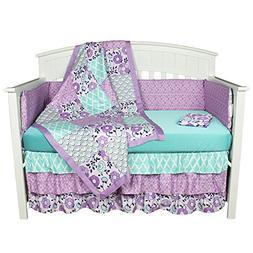 Purple/Aqua Crib Bedding, Zoe 8-In-1 Baby Bedding Set with B