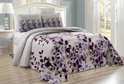 Purple Grey Viney Fresca Reversible Quilt CAL KING Size Cove