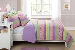 Elegant Home Multicolor Purple Yellow Green Pink Fun Striped