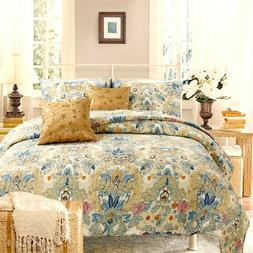 Pylle Hill Floral Reversible 100%Cotton 3-Piece Quilt Set, B