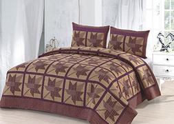 American Hometex Q16908-Q Maple Ridge Quilt Set, Queen