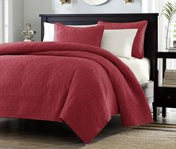 Madison Park Quebec 3 Piece Coverlet Set, Full/Queen, Red