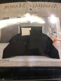 Avondale Manor Queen 5 Piece Comforter Set Black Madison
