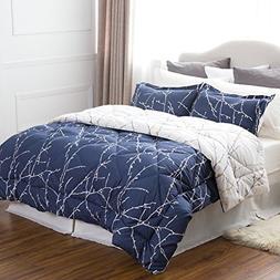Bedsure Full/Queen Size 8 Piece BED IN A BAG Navy/Camel Bran