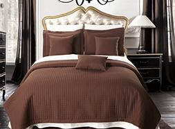 Full / Queen size Chocolate Coverlet 3pc set, Luxury Microfi