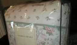 LAURA ASHLEY Queen Comforter Set 4PC COTTAGE FLORAL PINK Gre