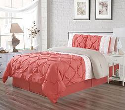 3 Piece QUEEN size Coral Pink / White / Grey Double-Needle S