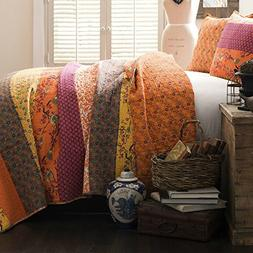 Full / Queen Size Soft Cotton Quilt Set with Floral / Nature