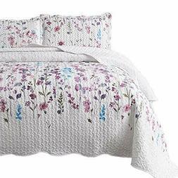 Bedsure King Size  3Piece Quilt Set Coverlet Lilac Flower Pa