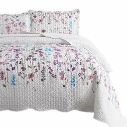 Bedsure Queen/Full Size  3-Piece Quilt Set Coverlet, Lilac F