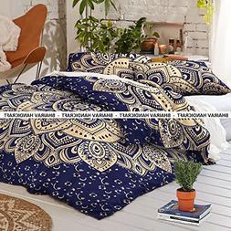 NEW Queen Indian Cotton Mandala Blue Gold Passion Ombre Duve