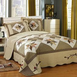 Brandream Queen Size Luxury Patchwork Quilted Bedspread Cott