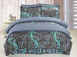 Legacy Decor Full/Queen Size 6 pc Microfiber, Reversible Blu