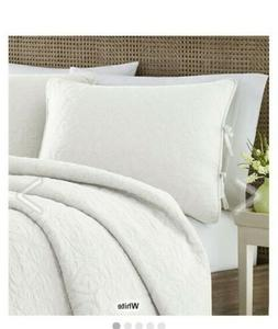 Laura Ashley QUEEN Quilt Set 3 pc CLASSIC SCROLL WHITE
