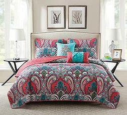 queen quilt set bohemian paisley