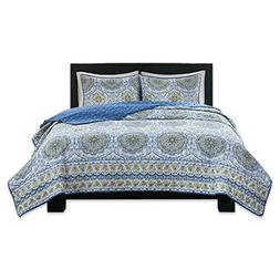 Home Essence Queen Quilt Set 3 Piece - Taya Blue Rustic Bedd