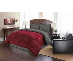 3 Piece Queen Red Grey Reversible Comforter Set, Down Altern