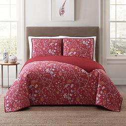 Full Queen 3 Piece Red Shabby Chic Floral Printed Pattern Qu