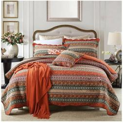 Newlake Queen Size Quilt Bedspread Set 3 Piece Patchwork 100