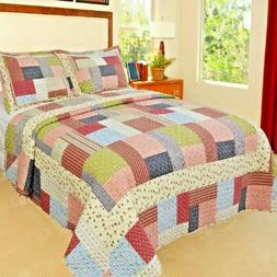Queen Size Quilt Set Patchwork Bed Cover Reversible 3 Piece