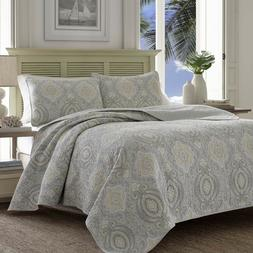 Tommy Bahama KING Turtle Cove Medallion Grey 100% Cotton Qui