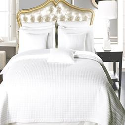 Full / Queen size White Coverlet 3pc set, Luxury Microfiber