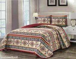 Quilt 3, 5 Piece Reversible Southwest Aztec Lodge Bedspread