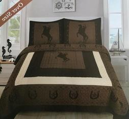 Quilt 3 or 5 pieces Texas Western Bedspread Set Riding Cowbo