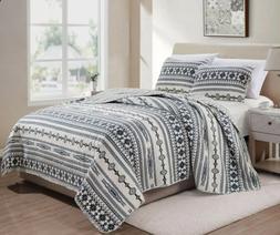Quilt 3 Piece Reversible Southwest Tribal Bedspread Coverlet