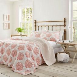 Quilt and Pillow Set Coral Coast, 100% Cotton, Fade Resistan