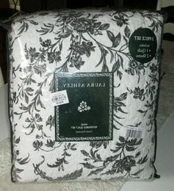 LAURA ASHLEY Quilt and Shams KING SIZE Set 3PCS BLACK TOILE