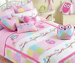 Cozy Line Home Fashions 7-Piece Quilt Bedding Set, Pink Owl
