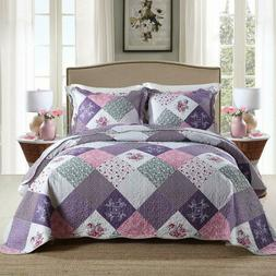 Newlake Quilt Bedspread Sets-Floral Checkered Pattern Revers