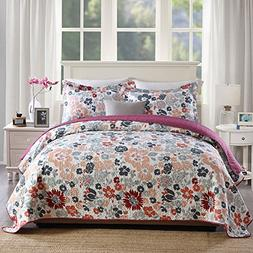 NEWLAKE Quilt Bedspread Sets-Land of Blossoms Pattern Revers