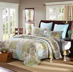NEWLAKE Quilt Bedspread Sets-Romantic Paisley Pattern Cotton
